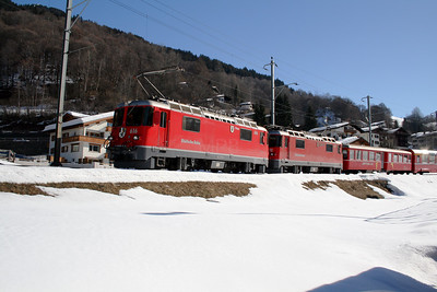 RhB, 616 & 615 at Klosters Dorf on 16th February 2008