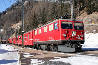 RhB, 601 at Bergun Bravuogn on 16th February 2008 (1)