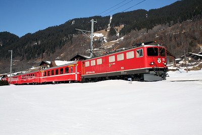 RhB, 703 at Klosters Dorf on 16th February 2008