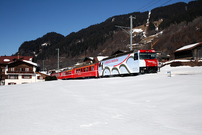 RhB, 650 at Klosters Dorf on 16th February 2008