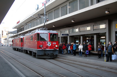 RhB, 616 at Chur on 19th February 2008