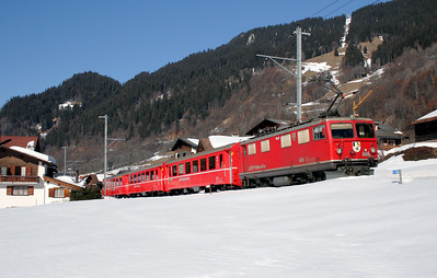 RhB, 606 at Klosters Dorf on 16th February 2008 (1)
