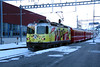 RhB, 611 at Samedan on 18th February 2013 working 1960, 1702 Pontresina to Suol Tarasp