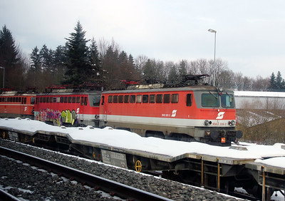 OBB, 1042 036 at Sursee (Switzerland) on 15th February 2013. Poor quality as taken through train window