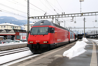 460 055 & 460 036 at Sargans on 15th February 2013 working IR1775 1247 Basel SBB to Chur
