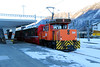 RhB, 214 at Samedan on 18th February 2013 shunting coaches from train 1960 to train (This is a booked shunt move)