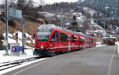 RhB, 3501 at Filisur on 15th February 2013 working 1844 1704 Filisur to Davos Platz