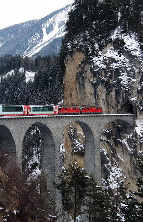1) RhB, 628 & 632 on Landwasser Viaduct on 15th February 2013