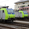 1) BLS, 485 007 & 485 009 at Spiez on 21st January 2014