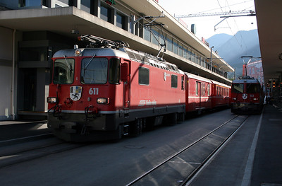 RhB, 611 at Chur on 9th June 2007