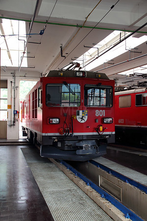 1) RhB, 801 at Landquart RhB Depot on 10th May 2014