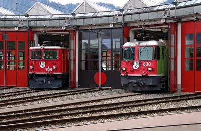 RhB, 704 & RhB, 630 at Landquart RhB Depot on 10th May 2