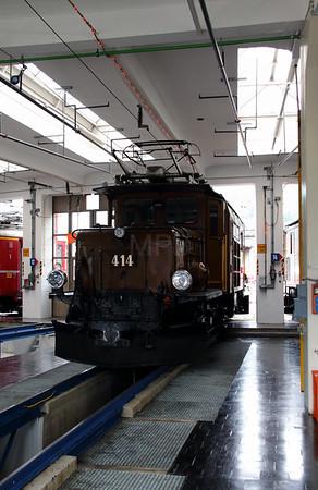 2) RhB, 414 at Landquart RhB Depot on 10th May 2014