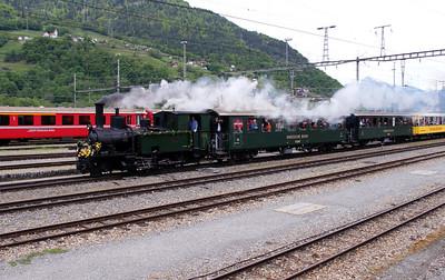 2) steam, RhB, 1 at Landquart RhB Depot on 10th May 2014