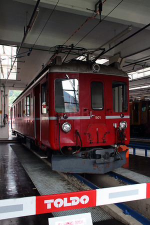 1) RhB, 501 at Landquart RhB Depot on 10th May 2014