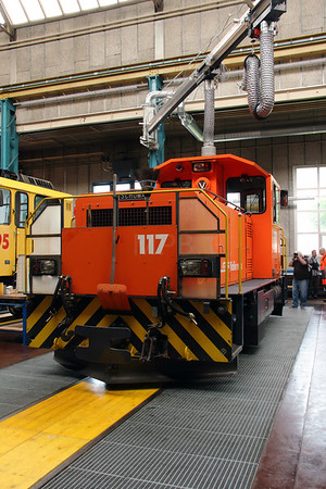 1) RhB, 117 at Landquart RhB Depot on 10th May 2014