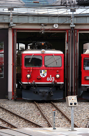 RhB, 603 at Landquart RhB Depot on 10th May 2014
