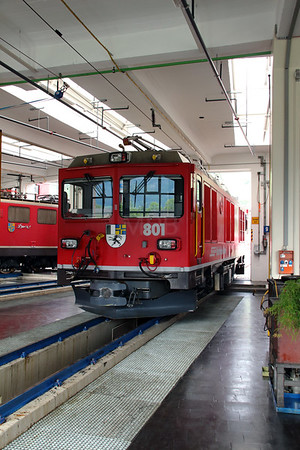 3) RhB, 801 at Landquart RhB Depot on 10th May 2014