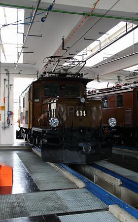 1) RhB, 414 at Landquart RhB Depot on 10th May 2014