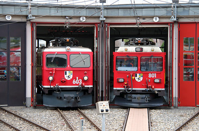 RhB, 603 & RhB, 801 at Landquart RhB Depot on 10th May 2014