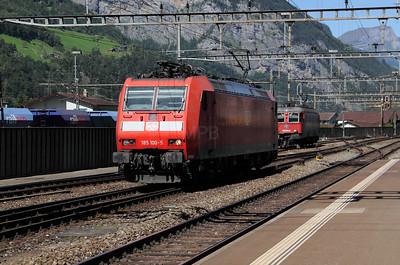 DB, 185 100 at Erstfeld (Switzerland) on 26th August 2010