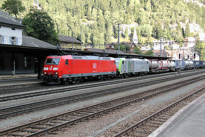 DB, 185 104 & BLS, 486 501 at Goschenen (Switzerland) on 22nd September 2011