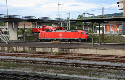 DB, 185 100 (91 80 6185 100-5 D-DB) at Muttenz Yard on 16th September 2015