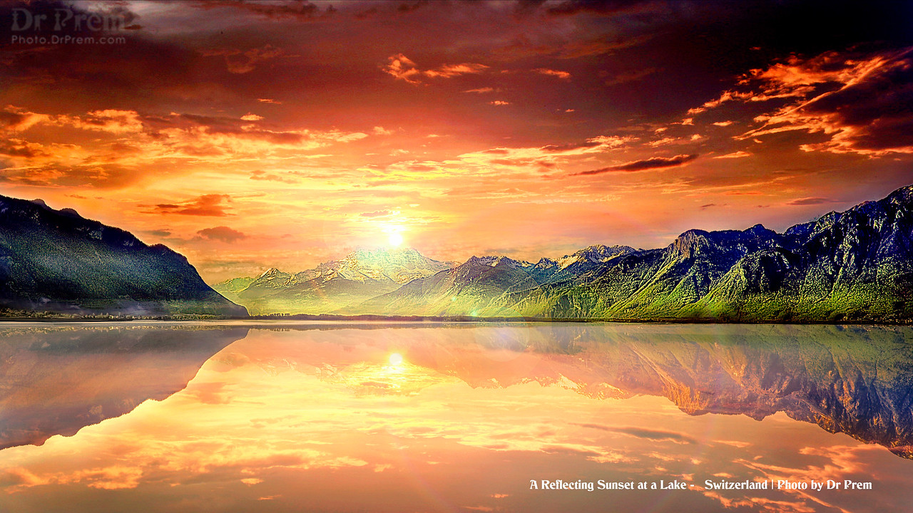 Refelecting SunSet at Lake Switzerland by Dr Prem