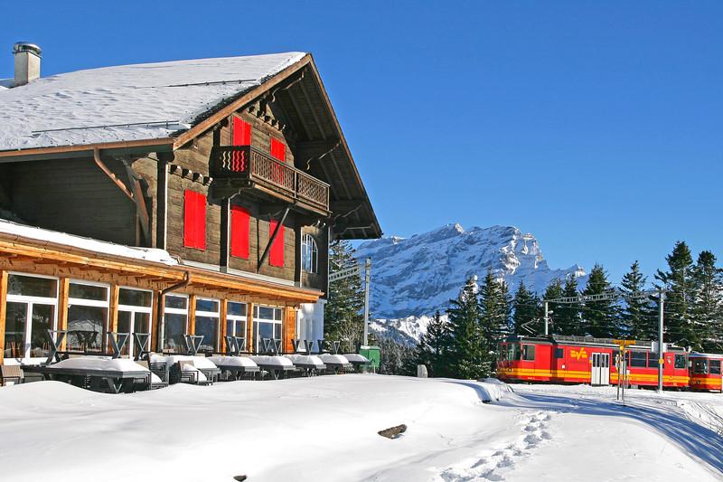 Mountain train in Villars/ Train de montagne à Villars