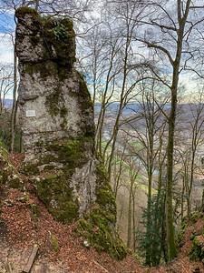 "A narrow zigzag trail passes ""kleines Matterhorn"", descending from summit opposite Aarburg."