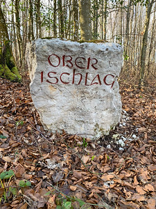 Stone markers with engraved and painted letters - reminded me of Middle Earth.