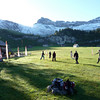 Aelggi Alp Swiss Disc Golf tournament.  12 time champion was in my division.  Beautiful scenery and great discgolf with full sized baskets screwed into the ground.  I got 9th place.  It is september and it snowed overnight while we were eating fondue and coated the mountain tops.