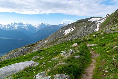 View back along the trail out of Fiescheralp.