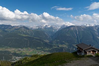 View from Fiescheralp, with Fiesch down in the valley.