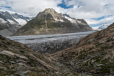 Aletsch glacier - look closely and see people walking off the glacier and up the rocks toward us.