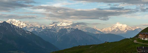View from Fiescheralp, soon after sunrise, with the Matterhorn visible.