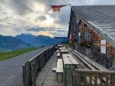 Restaurant along Amden Höhenweg – High Mountain Trail – above Amden Switzerland.