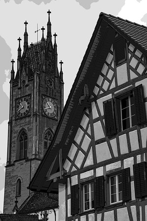switzerland, andelfingen, architecture, church, half timbered building, black & white