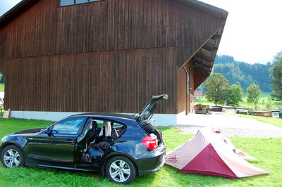 Campsite on day two in Appenzell