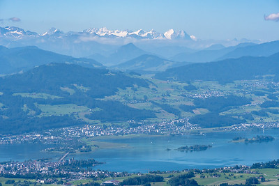 View of Monch, Jungfrau, Eiger, and others, from the summit tower on Bachtel.