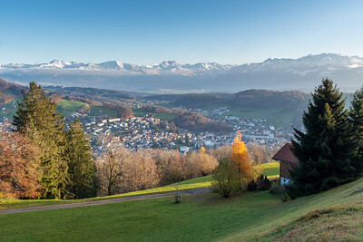 The town of Wald, Switzerland, with the Glarusalps beyond.