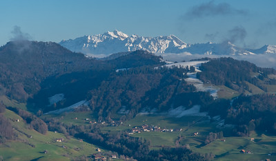 Säntis dominates the Alpine view from Bachtel, just outside Wald, Switzerland.