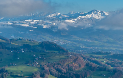 Alpine view from Bachtel, just outside Wald, Switzerland.