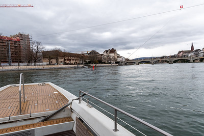 A clever ferry in Basel - requiring no power to move itself across the river Rhine.