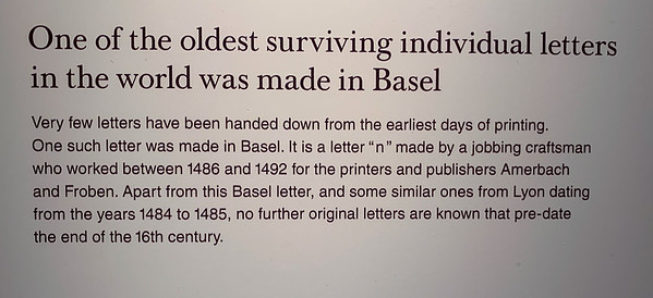 One of the oldest surviving letters from a printing press - Paper museum, Basel.