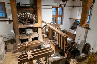 Water-driven machinery for making paper - Paper museum, Basel.