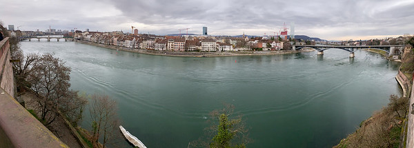 The river Rhine, in Basel. seen from the cathedral square.