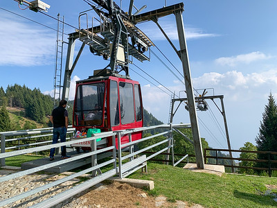 The gondola lifts hikers and tourists from Monte Carasso to Mornera, near Bellinzona, Switzerland.