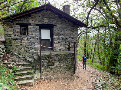 The trails on Monte Carasso pass many old homes and farm buildings;  near Bellinzona, Switzerland.