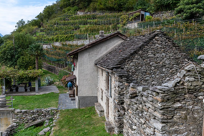 The hillside homes in Monte Carasso are all made of stone - even the roofs.  Bellinzona, Switzerland.